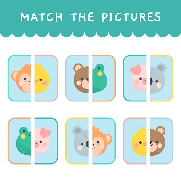 Match juego para niños vector gratuito