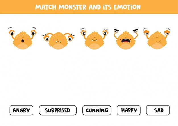 Match monstruo y sus sentimientos. juego para niños. Vector Premium