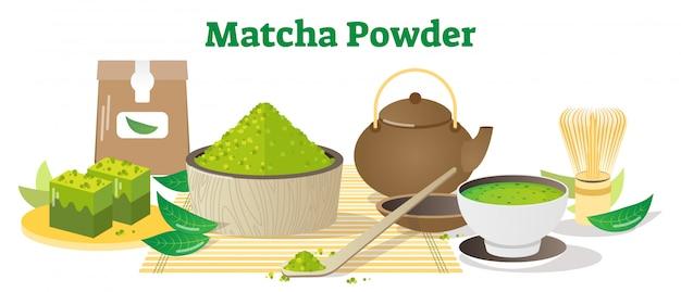 Matcha tea powder conceptual illustration Vector Premium