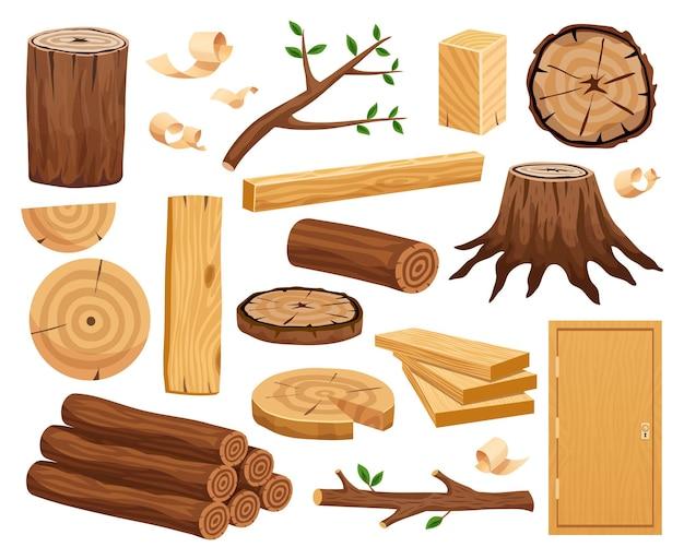 Materia prima de la industria maderera y muestras de producción conjunto plano con troncos de árbol troncos tablones puerta vector gratuito