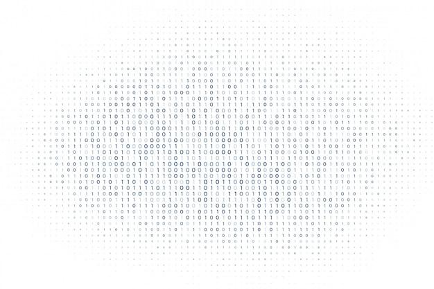 Matriz digital blanca de fondo de números de código binario vector gratuito