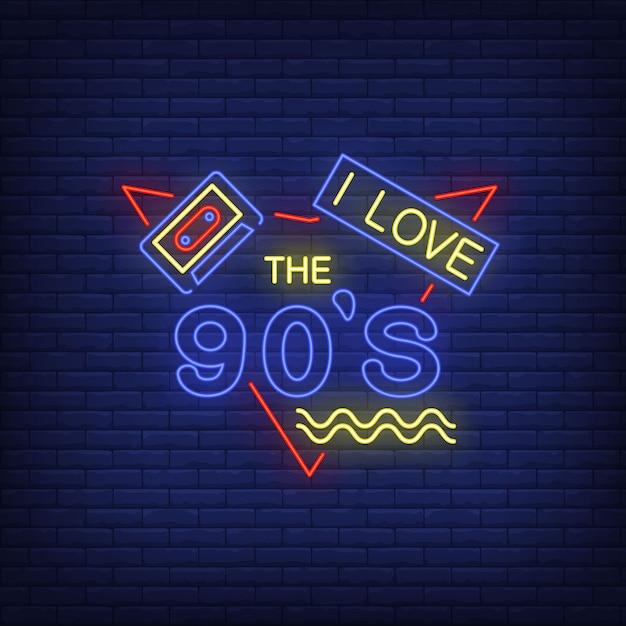 Me encantan las letras de neón de los noventa con cassette de audio. vector gratuito