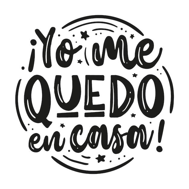 Me quedo en casa letras en español con diferentes elementos vector gratuito