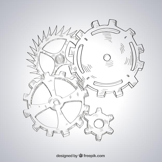 Mecanismo esbozado vector gratuito