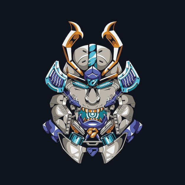Mecha samurai ilustración Vector Premium