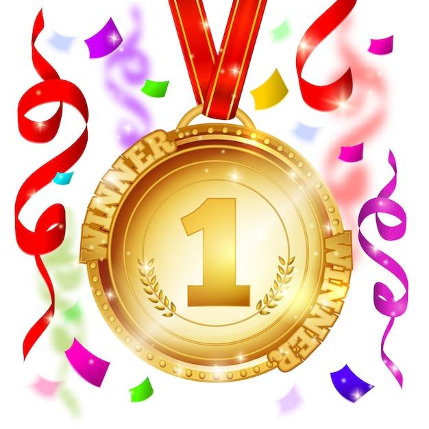 Medalla de diseño ganador vector gratuito