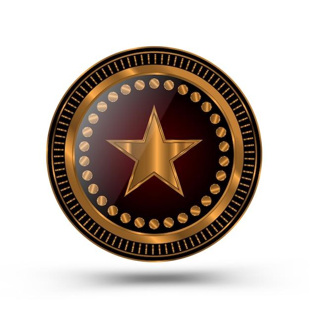 Medalla de oro al estilo de la insignia del sheriff aislada Vector Premium