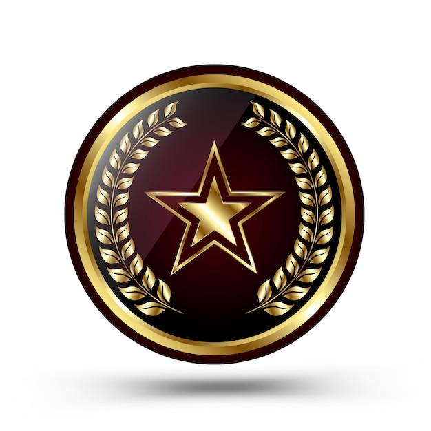 Medalla de oro ganador aislada en blanco Vector Premium