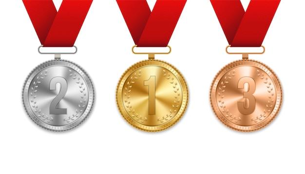 Medalla de oro, plata y bronce con conjunto de cintas. Vector Premium