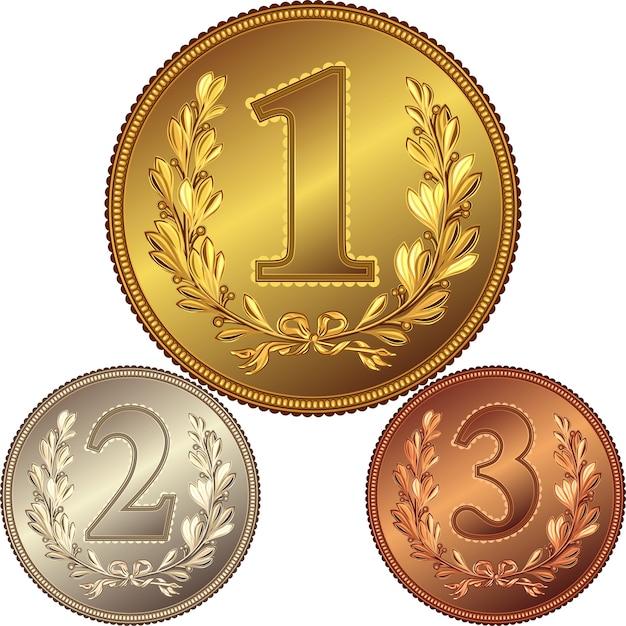 Medalla de oro, plata y bronce por ganar el concurso con la imagen de una corona de laurel y el primer, segundo, tercer lugar Vector Premium
