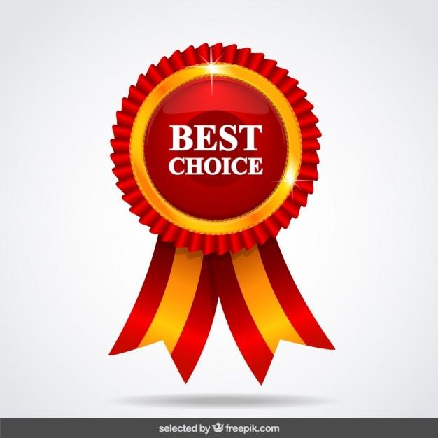 Medalla roja de la mejor elección vector gratuito