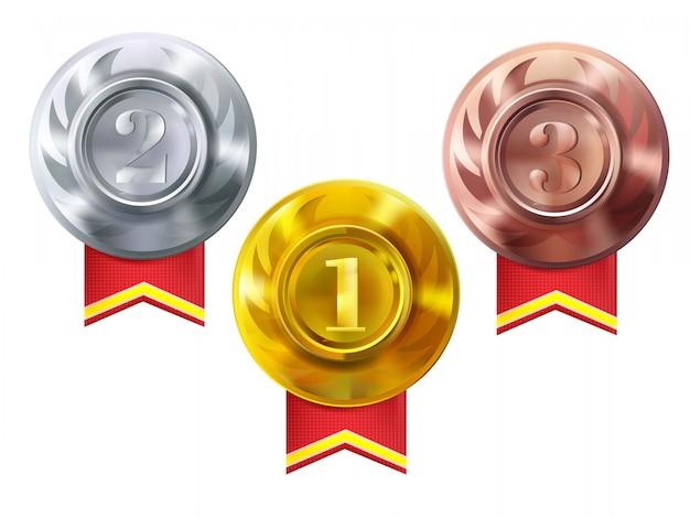 Medallas de oro, plata y bronce. ilustración de los premios campeones por primera vez. vector gratuito