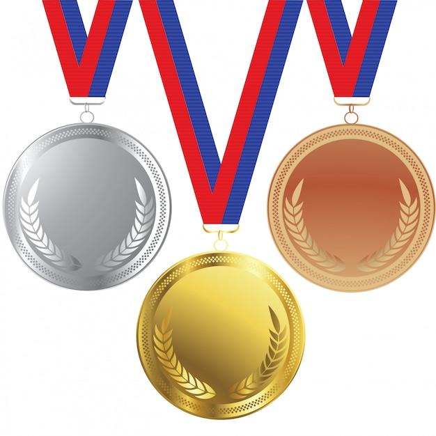 Medallas de oro y plata Vector Premium
