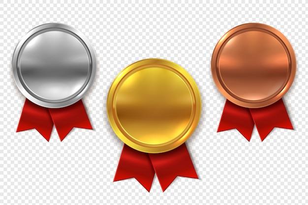 Medallas vacías conjunto de medallas de plata y bronce dorado redondo en blanco con cintas rojas Vector Premium