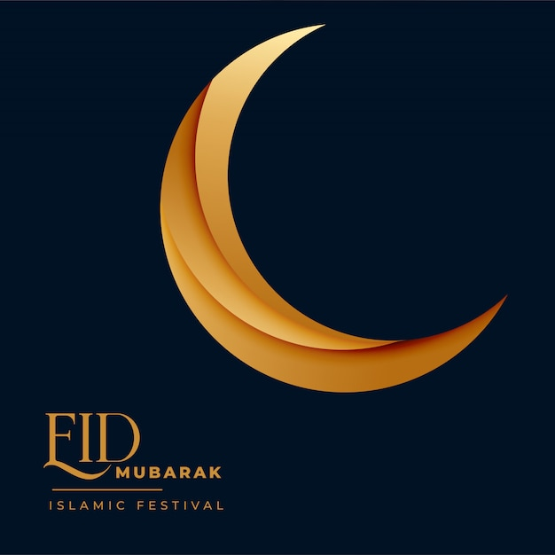 Media luna dorada 3d para eid mubarak vector gratuito