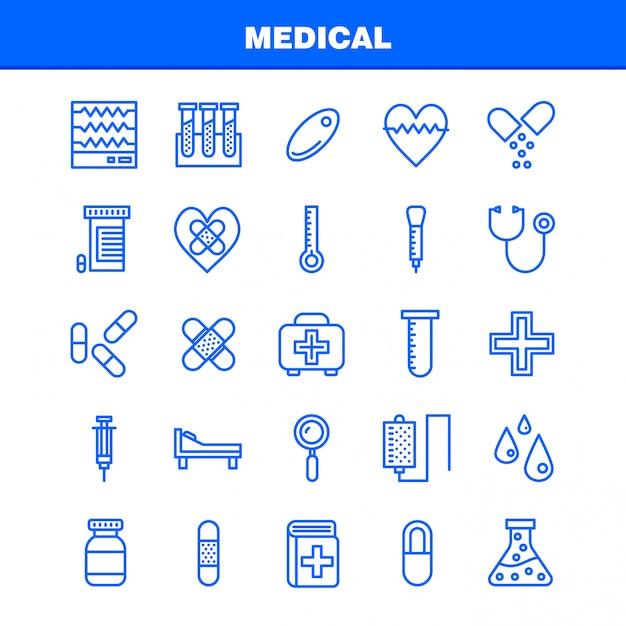 Medical line icon pack para diseñadores y desarrolladores. Vector Premium