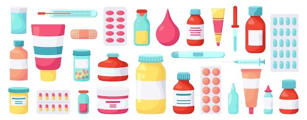 Medicamentos de farmacia. medicamentos medicinales, tratamiento farmacéutico, paquetes de ampollas de vitaminas, conjunto de iconos de ilustración de botellas de píldoras de medicina. tratamiento y medicación farmacéutica vitamina Vector Premium