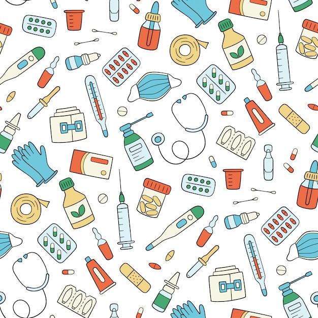 Medicamentos, medicamentos, píldoras, botellas y elementos médicos para el cuidado de la salud. patrón transparente de color. ilustración en estilo doodle sobre fondo blanco Vector Premium
