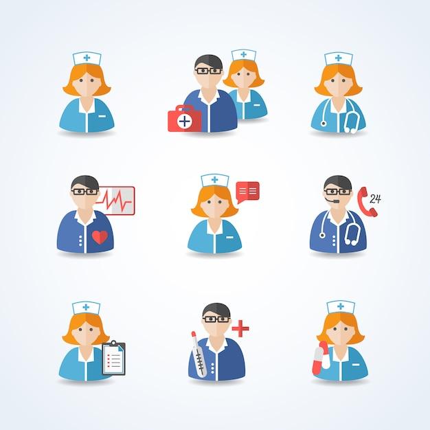 Medicina conjunto de avatar de médicos y enfermeras vector gratuito