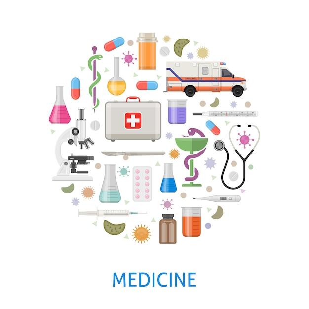 Medicina diseño redondo plano con ambulancia microscopio pastillas instrumentos profesionales bacterias vector gratuito