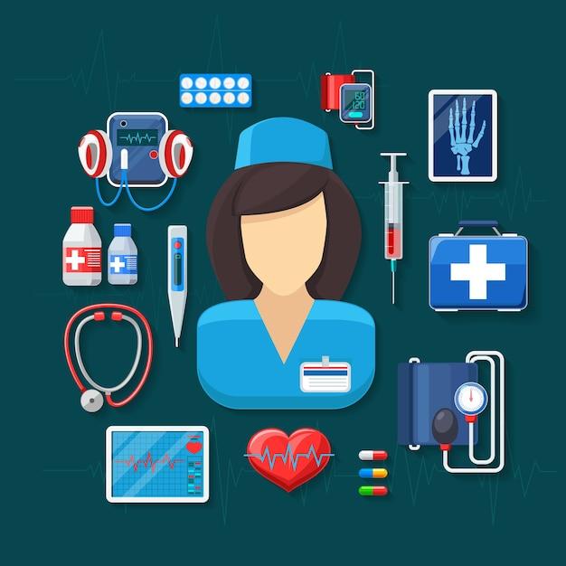 Medicina y salud. tonómetro y radiografías, pulsómetro, estetoscopio y jeringa. vector gratuito
