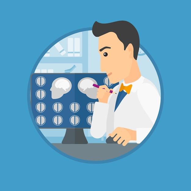 Médico analizando la resonancia magnética. Vector Premium