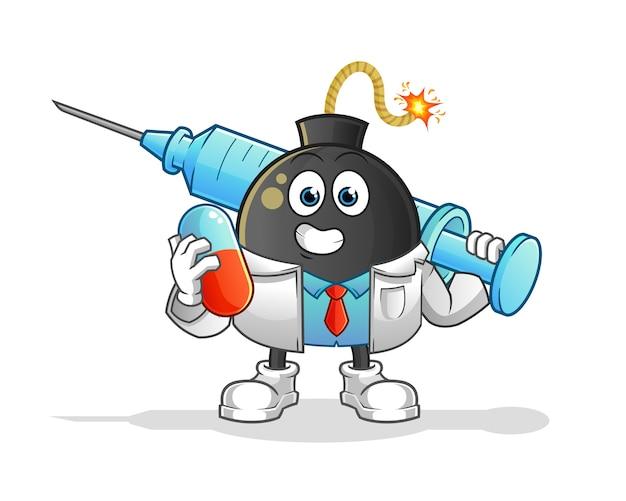 Médico de bomba con medichine e inyección. personaje animado Vector Premium