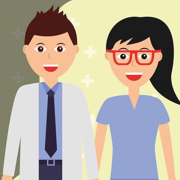 Médico y cirujano femenino en sanidad y ocupación médica. Vector Premium