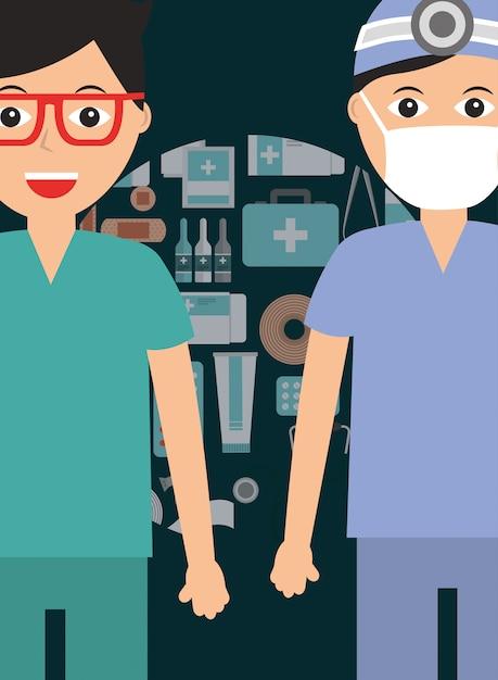 Médico cirujano y paramédico con mascarilla médica. Vector Premium