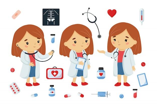Medico De Dibujos Animados Kawaii Personaje Con Herramientas De Medicina Vector Premium