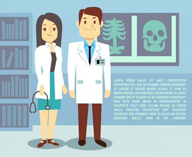 Médico y enfermera del hospital en el hospital Vector Premium