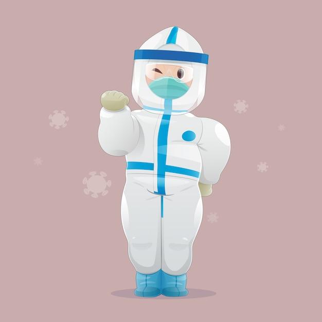 Médico con equipo de protección personal (epp), guantes médicos y careta. Vector Premium