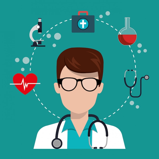 Médico hombre con iconos de servicios médicos vector gratuito