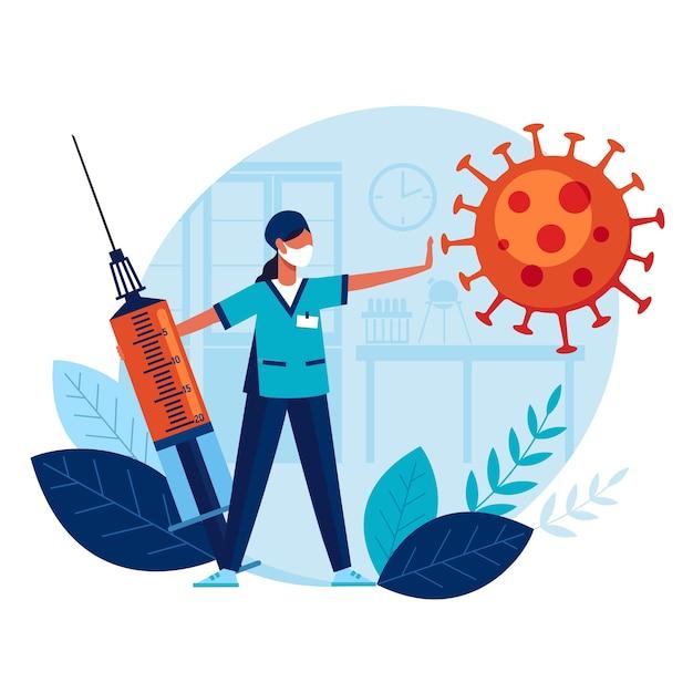 El médico con una jeringa grande y una vacuna previene la propagación del terrible coronavirus. Vector Premium