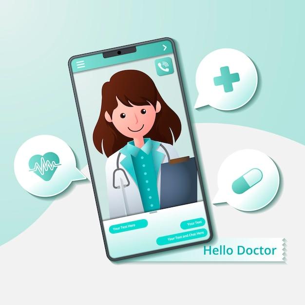 Médico en línea dando consejos y ayuda en el teléfono móvil Vector Premium