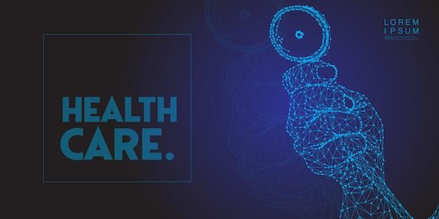 Médico mano sosteniendo el estetoscopio medicina baja poli salud día mundial. Vector Premium