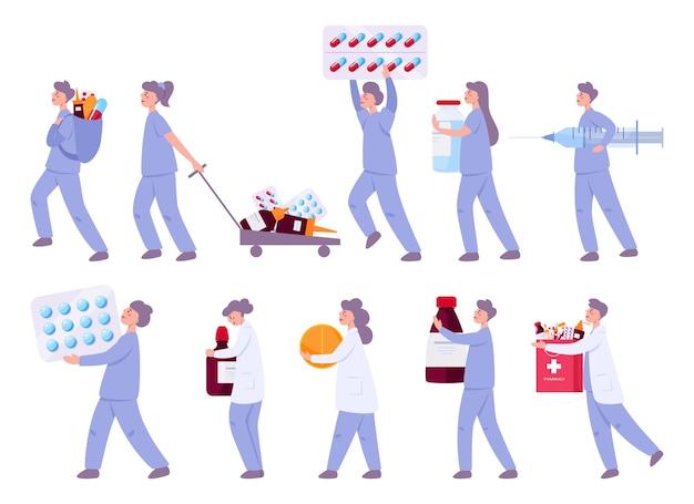 Médico con medicación. médico masculino y femenino en uniforme de hospital con píldoras en botella y blister para el tratamiento de enfermedades. Vector Premium