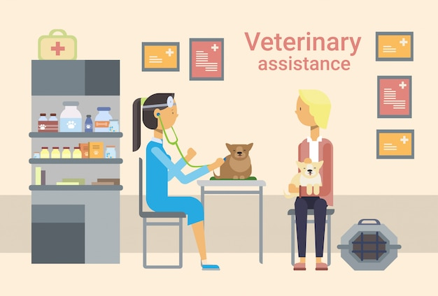 Médico médico veterinario curar animales en clínica de asistencia veterinaria Vector Premium