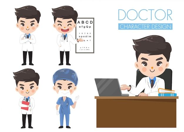 El médico muestra diversas emociones y gestos. Vector Premium