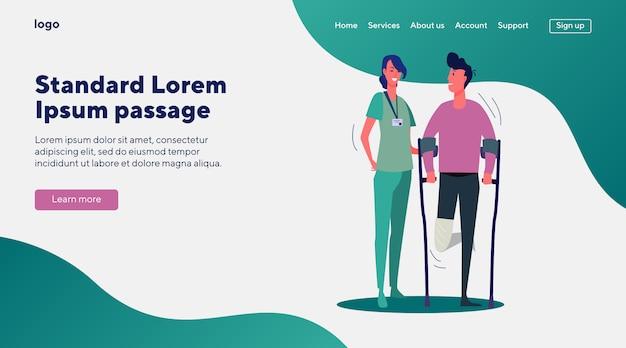 Médico paciente de apoyo con pierna rota vector gratuito