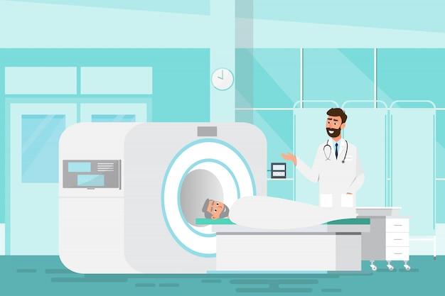 Médico de pie y hombre acostado para rayos x con máquina de escáner de resonancia magnética Vector Premium