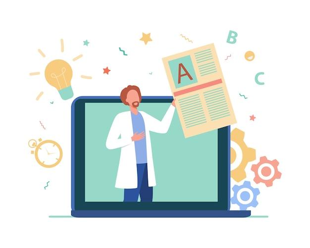 Médico que consulta a clientes en línea. vector gratuito
