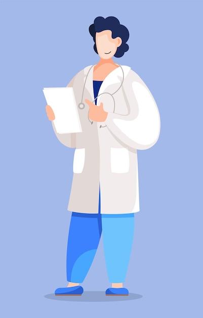 Médico con resultados de análisis o diagnóstico del paciente. Vector Premium
