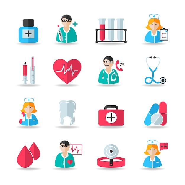 Médico, salud, iconos, Conjunto, de, corazón, diente, píldora, jeringa, aislado, vector ... Vector Gratis