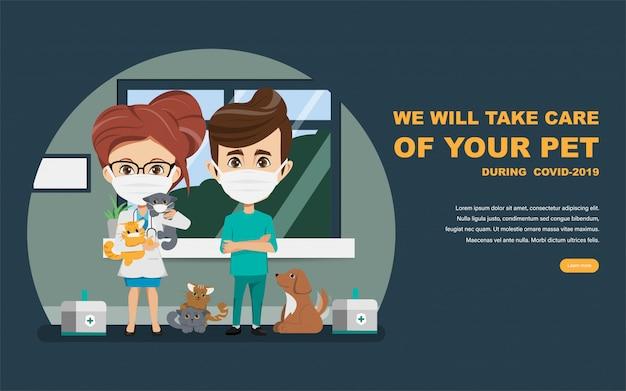 Médico y veterinario que salvan a las mascotas del brote de coronavirus. cuida a los animales en casa durante covid-19. Vector Premium