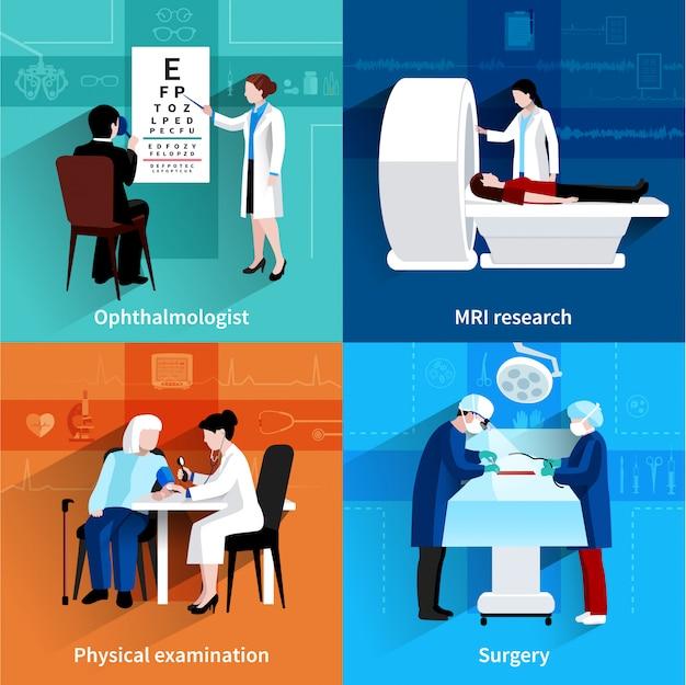 Médicos especialistas 4 iconos planos cuadrados vector gratuito