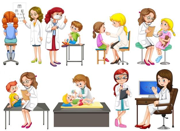 Médicos, paciente, clínica, ilustración vector gratuito