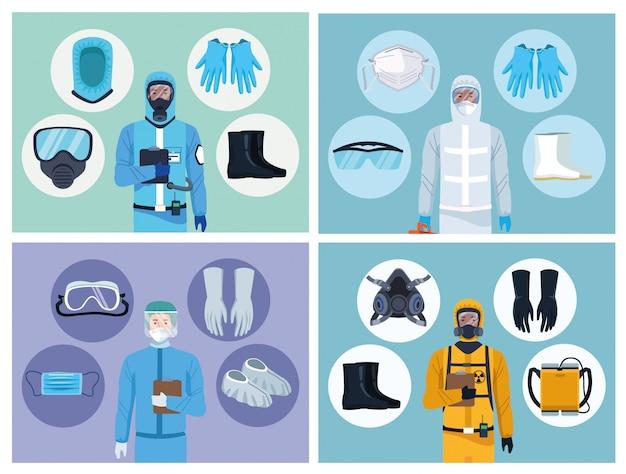Médicos y trabajadores de bioseguridad con elementos de equipo para protección covid19 Vector Premium