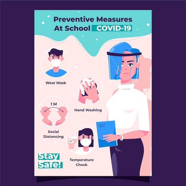 Medidas preventivas en la escuela - cartel vector gratuito
