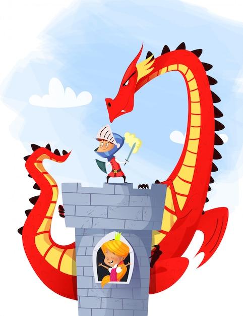 Medieval knight and dragon - ilustración Vector Premium